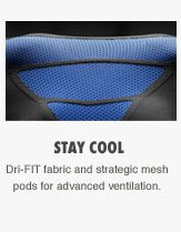 STAY COOL | Dri-FIT fabric and strategic mesh pods for advanced ventilation.