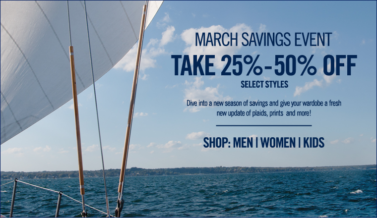 MARCH SAVINGS EVENT! Take 25%-50% off select styles!