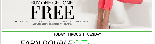 Earn double city cash (in stores only)! Find a store near you.