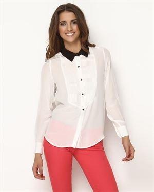 Dex Tuxedo-Style Silk Blouse $59