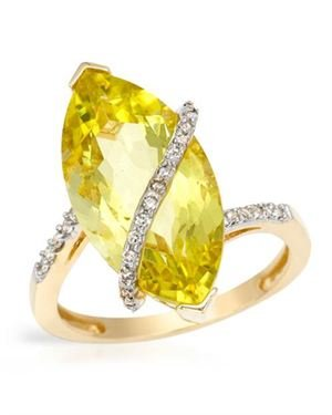 Ladies Quartz Ring Designed In 14K Yellow Gold $239