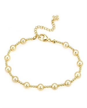 Gold Plated Sterling Silver Bracelet With Golden Faux Pearl & Cubic Zirconia