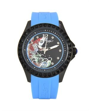 Ed Hardy Techno Blue Swarovski Ladies Watch