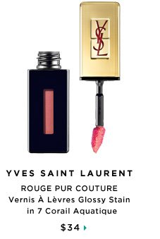 Yves Saint Laurent ROUGE PUR COUTURE Vernis A Levres Glossy Stain in 7 Corail Aquatique, $34