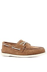 The A/O 2-Eye Python Embossed Boat Shoe in Tan