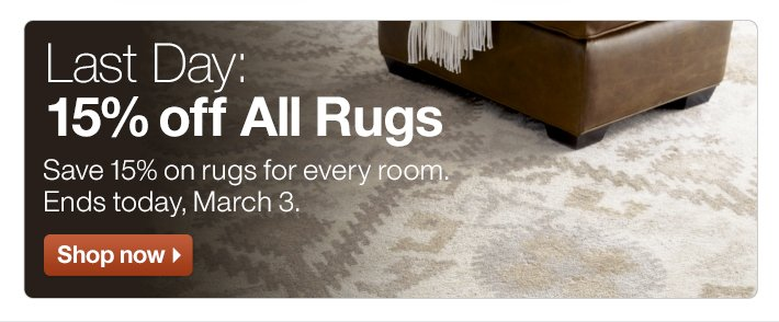 Last Day: 15% off All Rugs