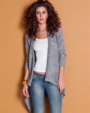 L Adore Asymmetrical Hem Solid Color Mesh Knit Pattern Cardigan