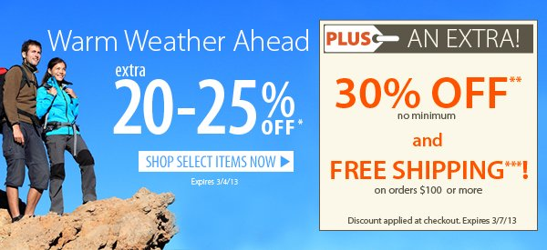 Warm Weather Ahead! An Extra 20-25% OFF Select Items! PLUS FREE Shipping on orders $100+ & An Extra 30% OFF!