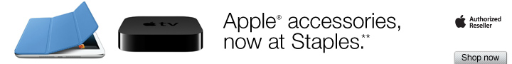 Apple  accessories, now at Staples.** Shop now