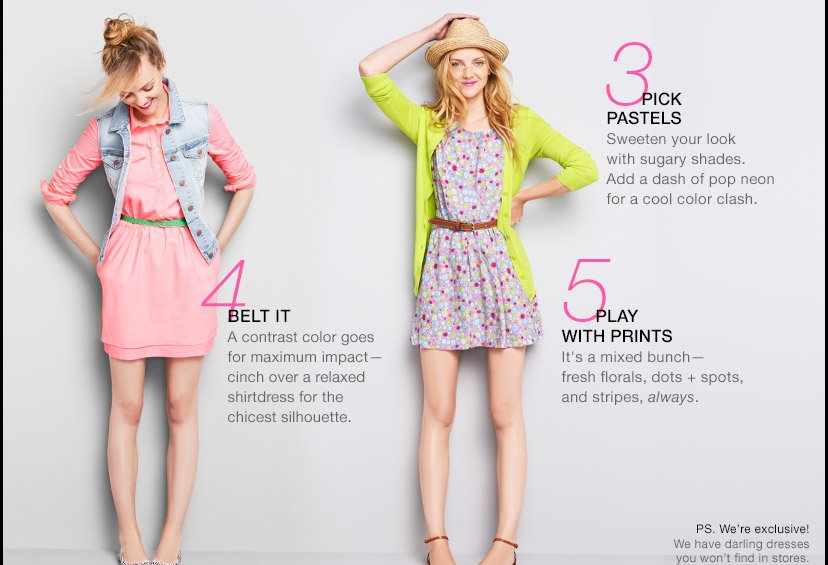 3 PICK PASTELS | 4 BELT IT | 5 PLAY WITH PRINTS