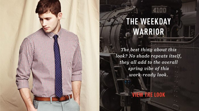 The Weekday Warrior. The best thing about this look? No shade repeats itself, they all add to the overall spring vibe of this work-ready look. View the look.