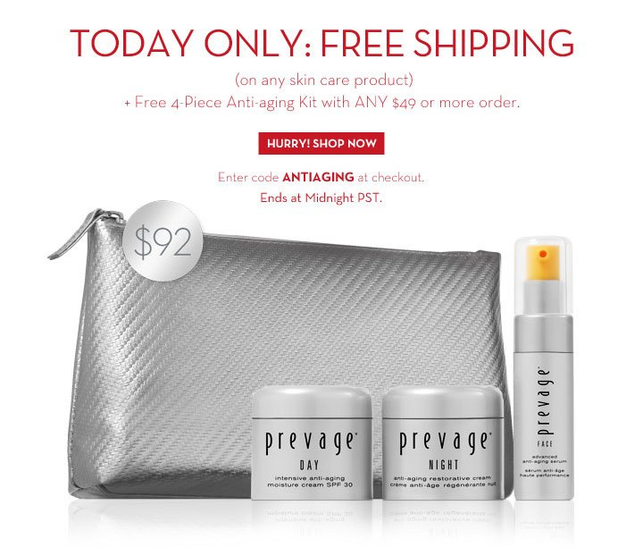 TODAY ONLY FREE SHIPPING (on any skin care product) + Free 4-Piece Anti-aging Kit with ANY $49 or more order. HURRY! SHOP NOW. Enter code ANTIAGING at checkout. Ends at Midnight PST.