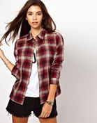 Only Check Shirt With Studs
