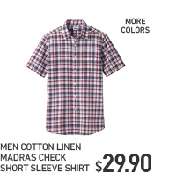MEN COTTON LINEN MADRAS CHECK SHORT SLEEVE SHIRT