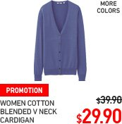 WOMEN COTTON BLENDED V NECK CARDIGAN