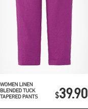 WOMEN LINEN BLENDED TUCK TAPERED PANTS