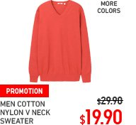 MEN COTTON NYLON V-NECK SWEATER