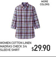 WOMEN COTTON LINEN MADRAS CHECK 3/4 SLEEVE SHIRT