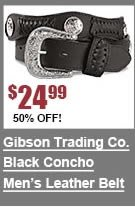 Gibson Trading Co. Black Concho Leather Belt
