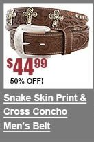 Snake Skin Print & Cross Concho Belt