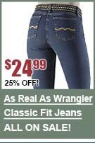 As Real As Wrangler Rippling Classic Fit Jeans