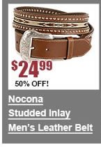 Nocona Inlay Studded Leather Belt