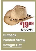 Painted Outback Straw Cowgirl Hat