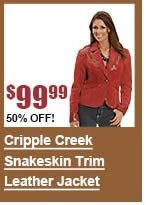 Cripple Creek Snakeskin Trim Leather Jacket
