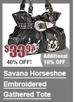 Savana Horseshoe Embroidered Gathered Tote