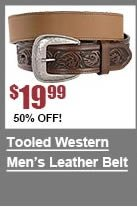 Tooled Western Leather Belt