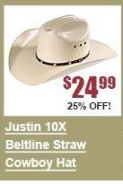 Justin 10X Beltline Straw Cowboy Hat