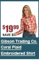 Gibson Trading Co. Coral Plaid Embroidered Shirt