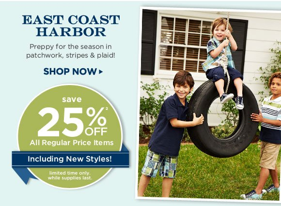East Coast Harbor - Preppy in polos, patchwork, checks, argyle, stripes & plaid! Save 25% off(2) all regular price items including new styles! Limited time only. While supplies last.