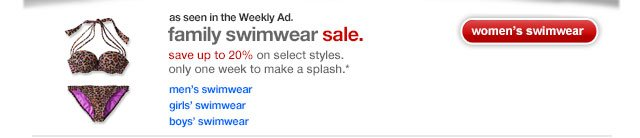 As seen in the Weekly Ad. Family swimwear sale.