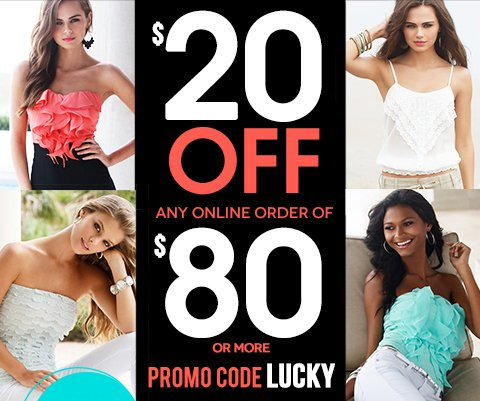 Shop Flirty Ruffles & Tiers. Plus, Take $20 off any online order of $80 or more. Use code LUCKY at checkout. Ends March 11.