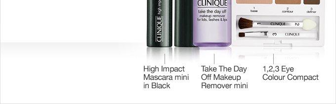 High Impact Mascara mini in  Black. Take The Day Off Makeup Remover mini. 1, 2, 3 Eye Colour  Compact.