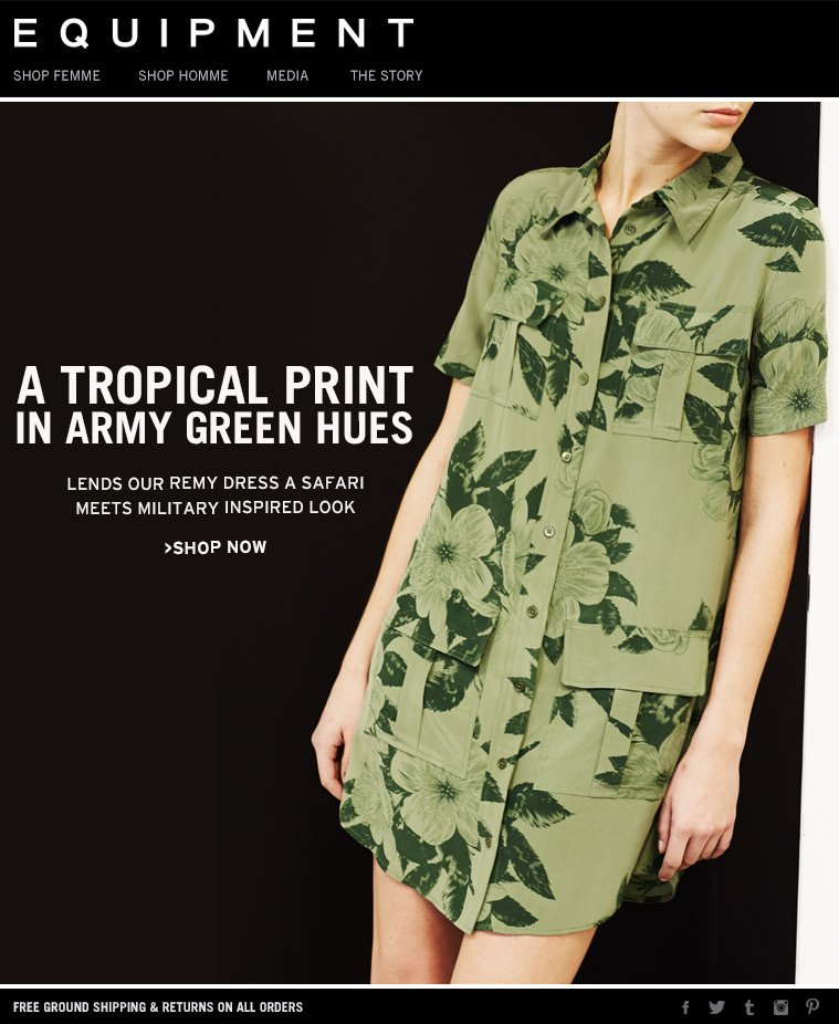 A TROPICAL PRINT IN ARMY GREEN HUES LENDS OUR REMY DRESS A SAFARI MEETS MILITARY INSPIRED LOOK >SHOP NOW