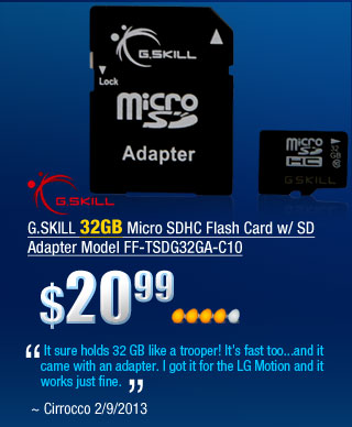 "G.SKILL 32GB Micro SDHC Flash Card w/ SD Adapter Model FF-TSDG32GA-C10         ""It sure holds 32 GB like a trooper! It's fast too...and it came with an adapter. I got it for the LG Motion and it works just fine."" ~ Cirrocco 2/9/2013"
