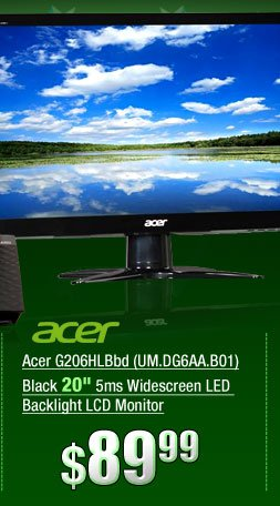 Acer G206HLBbd (UM.DG6AA.B01) Black 20 inch 5ms Widescreen LED Backlight LCD Monitor