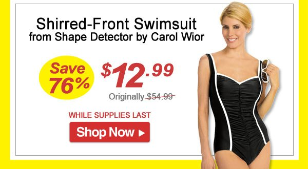 Shirred-Front Swimsuit from Shape Detector by Carol Wior - Save 76% - Now Only $12.99 Limited Time Offer
