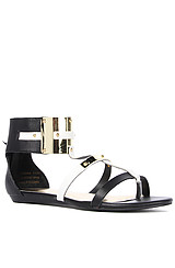 The Tamara Sandal in Black and White Leather