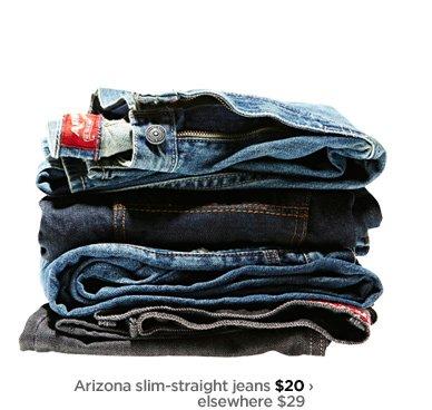 Arizon slim-straight jeans $20› elsewhere $29