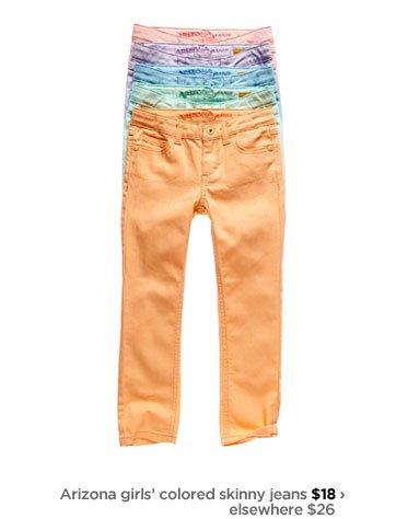 Arizona girls' colored skinny jeans $18 › elsewhere $26