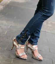 Snake Print High Heel Sandals