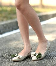 Faux Pearl Bow-Accent Flats