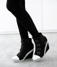 Belted Wedge Sneaker Boots