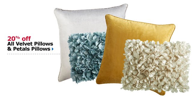 20% off All Velvet Pillows & Petals Pillows