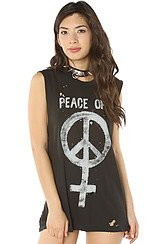 The Peace Off Muscle Tee in Faded Black and Silver