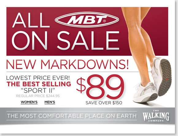 Save over up to $150 on your favorite MBT styles, the entire collection for women and men is now on sale! Our lowest prices ever, find great styles like the best selling Sport 2 for just $89 and much more! Shop now to find the best selection at The Walking Company. We guarantee that our prices are fair. If you purchase shoes from us at regular price and see them advertised for less, we'll give you triple the difference in store credit. Customer service is our highest priority, and our associates are the most highly trained & responsive professionals in the industry, with access to the  latest technology to ensure you always get the proper fit and the ideal footwear for your specific needs. We offer the world's best comfort footwear, including premier brands, hard-to-find brands & unique styles that are exclusively found here and nowhere else. The Walking Company mission is to help you walk in comfort in all aspects of your life. Our highly-trained comfort fit specialists will help you with all of your comfort shoe needs. Customer service is our number one priority and your satisfaction is guaranteed. We are dedicated to bringing you the best selection of the finest brands from around the world. When you purchase from The Walking Company you are making an  investment in your health and wellness; we will make sure you can select from the best, most fashionable and most technically-advanced comfort shoes available. Our product development team is constantly on the move, searching every corner of the globe to find shoe brands featuring the latest breakthroughs in comfort shoe technology.