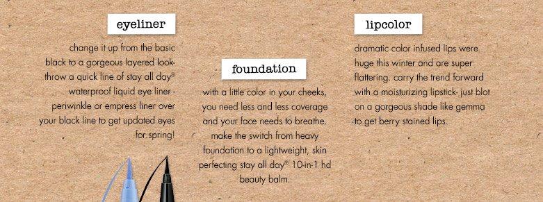 eyeliner, foundation, lipcolor